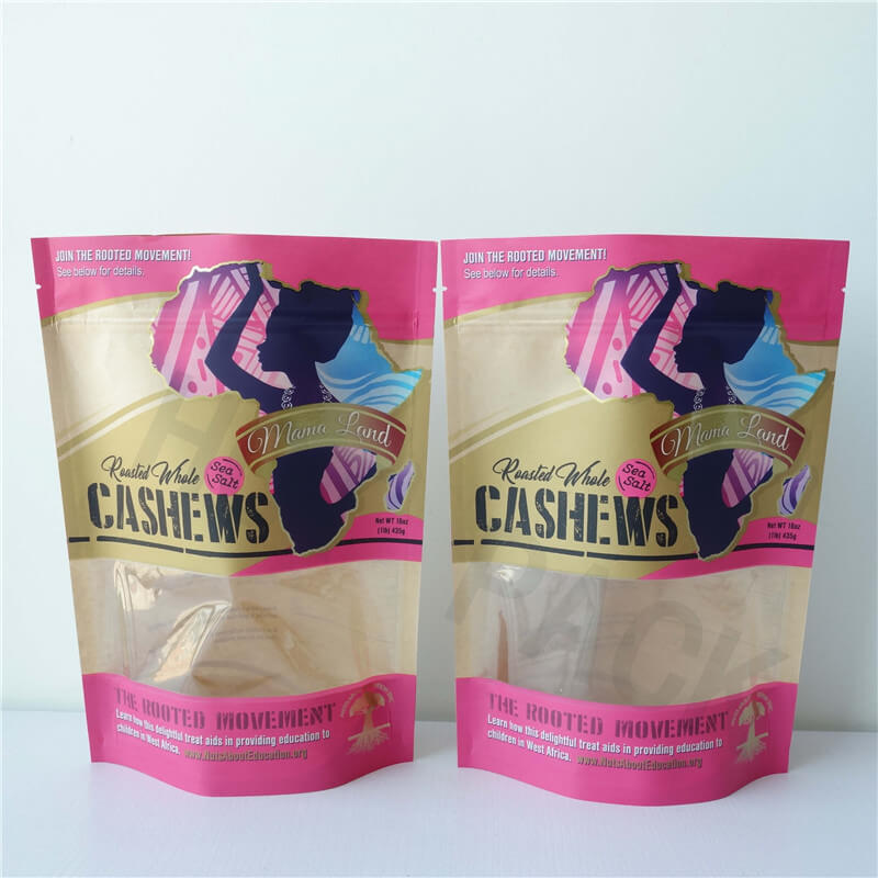 Kraft Paper Stand Up Pouches With Window